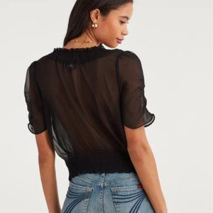 7 for All Mankind Smocked Black Sheer Blouse XS
